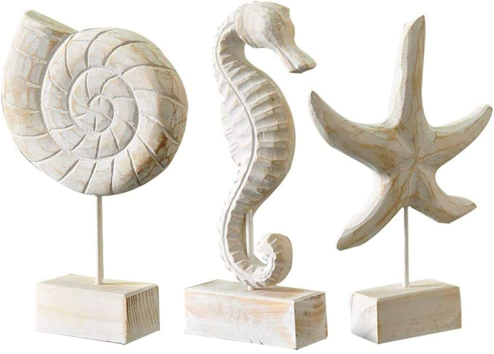 Creproly 3Pcs Modern Very popular! Wood Max 47% OFF Sculpture Home Starfish Statue Decor C