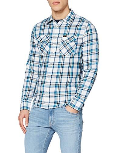 Lee Clean Western Shirt Camisa, Azul (Dipped Blue La), Large para Hombre