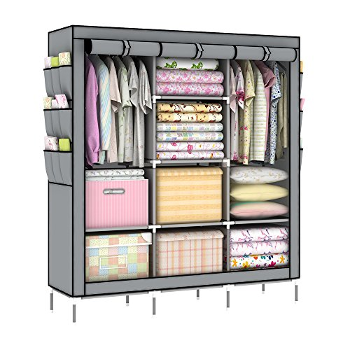 OUMYJIA 69 inches Portable Clothes Closet Wardrobe Non-Woven Fabric Storage Organizer, Side Pockets, Grey, 51 L x 17.5 W x 69 H inches
