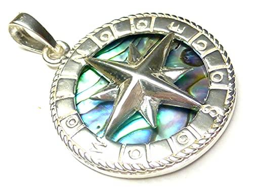 Anhänger Silber , Motiv Kompass , mit Abalone Muschel, Durchmesser 2,0 cm , aus 925 Sterling Silber gearbeitet, Geschenk Schmuck Unisex