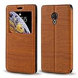 Meizu M15 Lite Case, Wood Grain Leather Case with Card