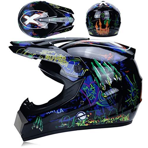 Qianliuk Top ABS Motobiker Casco Moto Racing Casco Off-Road Descenso montaña Casco Adecuado para Adultos con Gafas