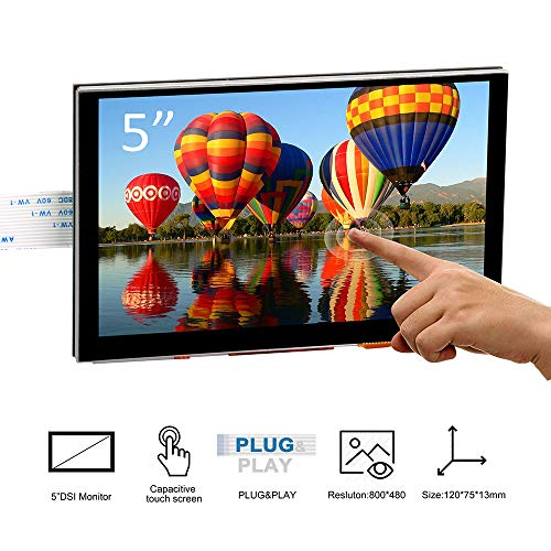 Pantalla táctil TFT capacitiva OSOYOO de 5 Pulgadas con Conector DSI y Monitor Reproductor LCD con una resolución de 800x480 para Raspberry Pi 4 2 3 3B+