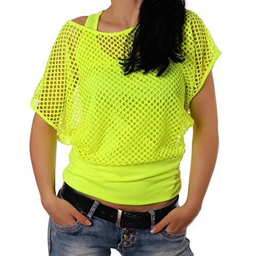 Freyday Damen Netzoberteil Sommertop Fasching Partytop in versch. Farben (Gelb)36-38 (Manufacturer size S/M)