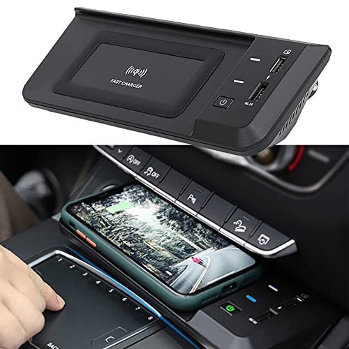 ElecPjf Cargador Inalámbrico Coche para Audi Q5 SQ5 2019 2020 2021 Coche Panel Accesorios Consola Central, QC3.0 USB Admite Carga Salida Qi 15W para iPhone 13/13 Pro MAX