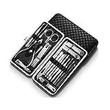 Cortaúñas 19pcs Nail Clippers Set de pedicura kit de acero inoxidable Cortauñas Conjunto, profesional del clavo Tijeras de manicura kit de aseo, ideal for hombres y mujeres, Profesional de acero inoxi