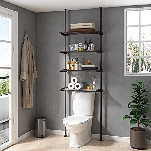 ALLZONE Bathroom Storage Cabinet, Over The Toilet Shelf Organizer, 4-Tier Adjustable Shelves, Small, Saver Space, 92 to 116 Inch Height, Oil Bronze