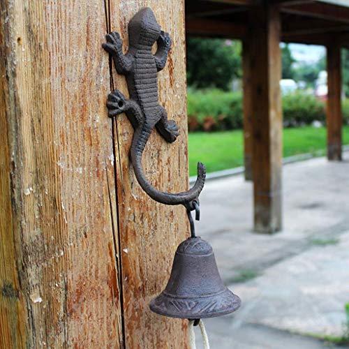 Beeld beeld Dierlijke muur, smeedijzeren deurbel imitatie kunst stijl roestvrij staal hand bel stijl gecko art stijl wind chime handwerk 98 Dierlijke muur Figurines