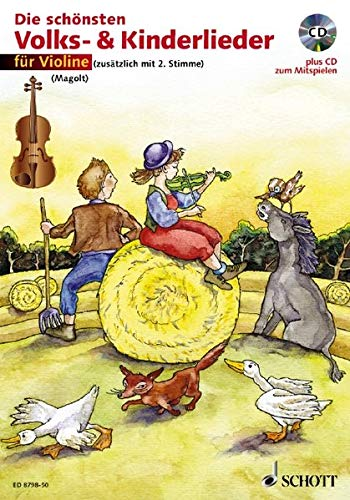Die schönsten Volks- & Kinderlieder, Notenausg. m. Play-Along-CDs, Für Violine, m. Audio-CD: sehr leicht bearbeitet. 1-2 Violinen. Ausgabe mit CD.