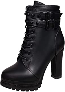 Women's Classic Lace Up Block Heel Winter Short Boots with Zipper Buckle Shoes Warm Ankle Booties Martin Boots Sopzxclim