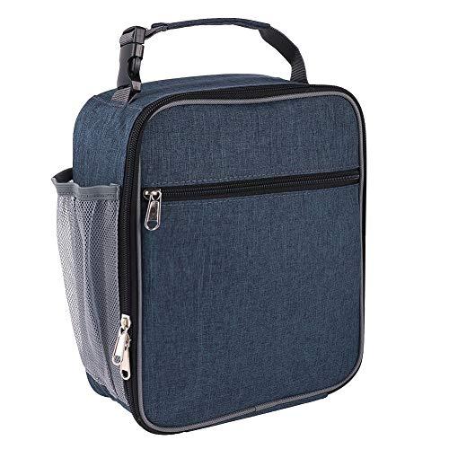 miuse Geïsoleerde Lunch Tas met Net Pocket, Lekvrij 600D Oxford Doek Lunch Box Tas voor Jongens Meisjes Vrouwen Mannen naar School Office Outdoor Blauw