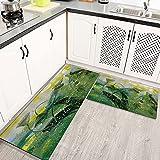 Alfombras Cocina Lavable Antideslizante Estilo de Pintura al óleo de Flores de Loto, Alfombrilla de Goma Alfombra de Baño
