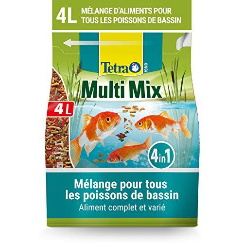 Tetra Pond Multi Mix – Alimentation Quotidienne pour Différentes Espèces de Poissons de Bassin - Mélange Complet d'Aliments : Flocon, Stick, Wafer, Gammarus - Favorise Vitalité et Energie - 4 L