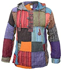 This patchwork cotton hoodie features a long pointy hood, wood button fastening and a large front kangaroo pocket Stone washed for the faded earthy look. Vents on each side for easy fit. Hood is adjustable with a drawstring Every patch is combined wi...