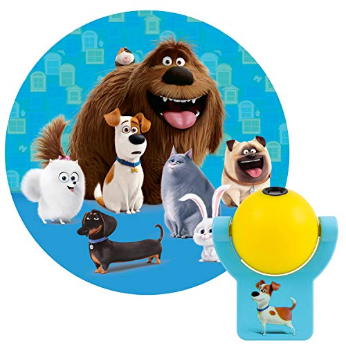Projectables Secret Life of Pets 2 LED Plug-in Night, Kids, Light Sensor, Energy Efficient, Dog, Cat, Image of Max and Friends on Ceiling, Ideal for Bedroom, Playroom, Nursery, 44855, 1