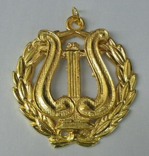 Masonic Organist Collar Jewel in Gold Tone