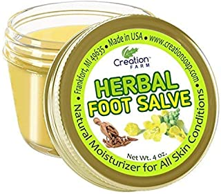 Creation Farm Herbal Foot Salve - Anti-Fungal Balm for Feet, Moisturizer, Dry Heels, Rough Cracked Skin - Bálsamo de Pies de Hierbas Large 4 oz Jar