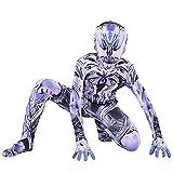 LQ-ZHUOJIAO Venom Cosplay Disfraz Niños Halloween Mono Spiderman Mono Adulto Traje De Disfraces Fanáticos De La Película Onesies,Silver-Kid L(130~140CM)