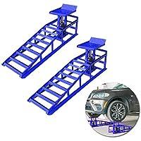 Froadp Juego de rampas de Carga para Coche, Rampas de elevación para vehículos caballete de trabajo hidráulico para Mantenimiento de Coche