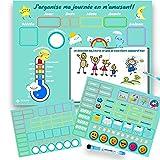 Jouet jeu éducatif enfant premier calendrier agenda, tableau blanc magnétique sur frigo ou mural, semainier avec magnets pour date, météo, saison, humeur, dessin, avec marqueur feutre effaçable à sec