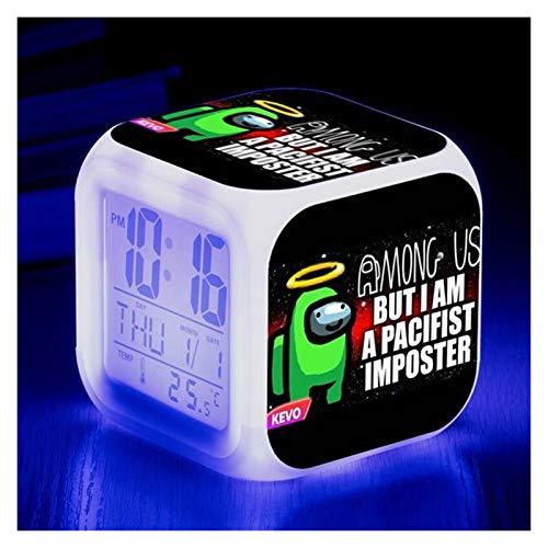 Despertador para niños Colorido reloj despertador casa luminoso pequeño reloj LED de alarma de la luz del escritorio de la alarma para los niños regalos para los niños adornos de decoración del hogar