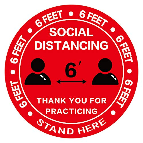 Social Distancing Floor Decal Stickers - 30 Pack 8' Red Stand Floor Decal - Wait Here Sign Distance of 6 Feet Specialized Sticker Markers, for Crowd Control Guidance, Pharmacy, Bank, Lab