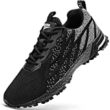 HIIGYL Mens Trainers Running Shoes Sports Sneakers Non Slip Walking Tennis Gym Shoes Black Grey