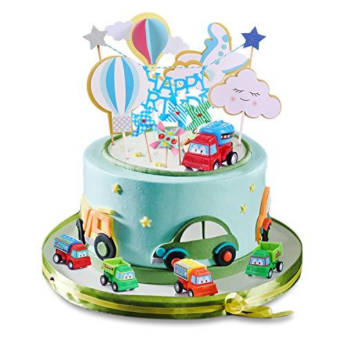 Geburtstag Junge 1-5 Jahre alt Kuchendekoration Spiel Tortendekoration Geburtstag Dekoration Cake Topper Auto Flugzeug Kuchen für Jungeparty Geburtstagsfeier Dekorationen Junge Geburtstagsgeschenk