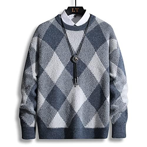 Suéter Tipo Jersey para Hombre, Tendencia Juvenil, Suelta, Manga Larga, Punto de celosía, Cuello Redondo, Prendas de Vestir Exteriores de Gran tamaño XL