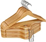 Utopia Home Premium Wooden Hangers - Pack of 20-360-Degree Rotatable Hook - Durable & Slim - Shoulder Grooves - Non-Slip Lightweight Hangers for Coats, Suits, Pant and Jackets - Natural Finish