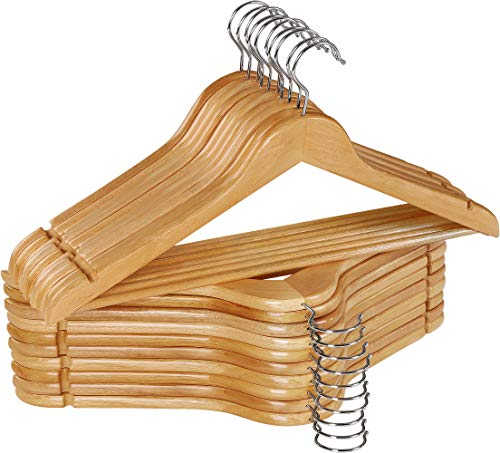 Utopia Home Non-Slip Premium Wooden Hangers - 360-Degree Rotatable Hook - Durable & Slim - Shoulder Grooves - Lightweight Hangers for Coats, Suits, Pants and Jackets - Natural Finish - (Pack of 20)