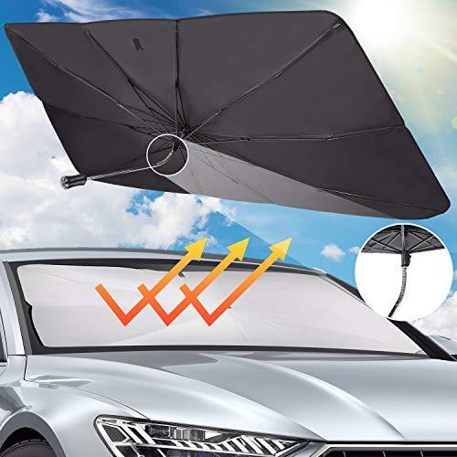 Auto Sonnenschirm, Block Wärme UV, Verstellbarer Auto Sonnenschutz für Frontscheiben, Einfache Lagerung für die meisten Autos und SUV, 140*79cm