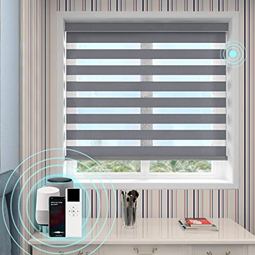 High Precision Customized Color and Size, Motorized Window Roller Zebra Shades/Blinds with Built-in Battery, Available for Smart Homes, Made in The USA.