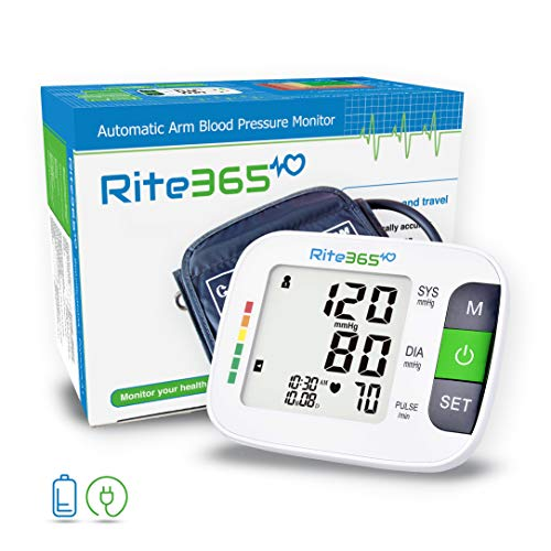 Arm Blood Pressure Monitor by Rite365 - Automatic -FDA approved - for Home and Travel - Upper Arm Cuff fits Standard and Large Arms, Deluxe Carry Case, Large Display (Tonometer)-AAA Batteries Included