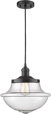 Innovations 201C-BK-G542SDY-LED Oxford School House 1 lámpara colgante parte de la colección Franklin Restoration, negro mate