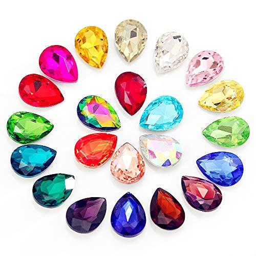 BLINGINBOX 48 piezas de 13 x 18 mm lágrima de cristal para coser en diamantes de imitación de alta calidad, vidrio, Champán dorado, 13 x 18 mm