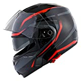1Storm Motorcycle Street Bike Modular/Flip up Dual Visor/Sun Shield Full Face Helmet Storm Tron Red