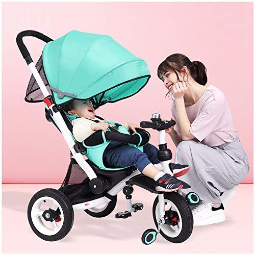 GSDZSY - Kinder Dreirad 4 IN 1 Mit Bequemem Sitz Und Baby Kann Flach Liegen, Drehbarer Sitz Und Erweiterte UV-Schutzmarkise, 6 Monate - 6 Jahre