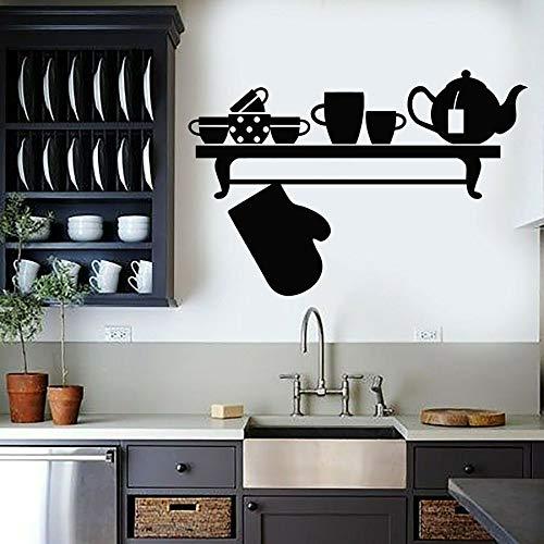 Calcomanía de vinilo para pared, utensilios de cocina, hervidor, almohadilla térmica, taza, decoración de interiores, ventana, pegatina de vidrio, calcomanía para gabinete, Mural artístico