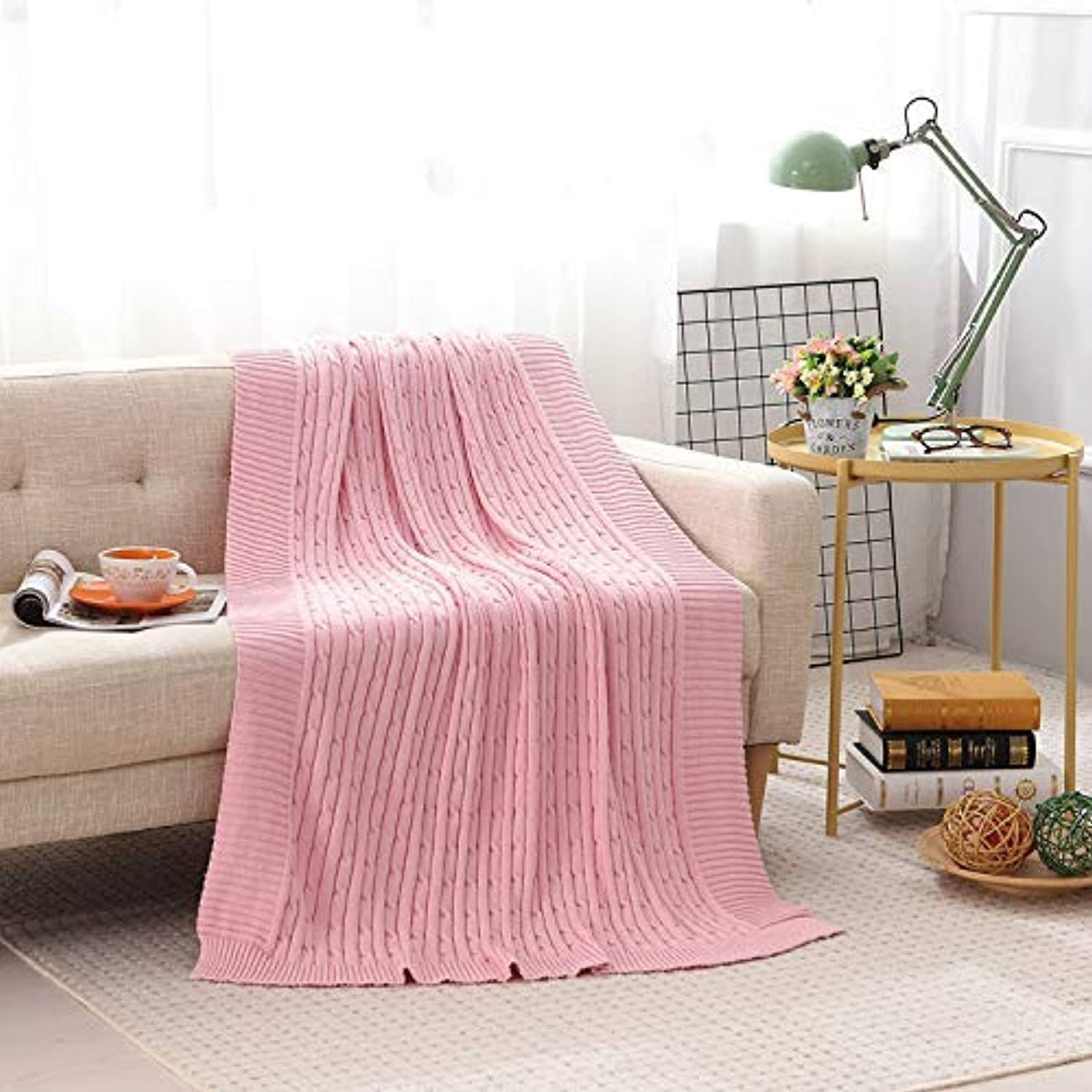 JINGB Home Cotton Knit Blanket Small Linen Flower Thread Blanket Baby Blankets air Travel and Leisure Sofa Blanket Pink,180cm200cm (Size   120cm180cm)