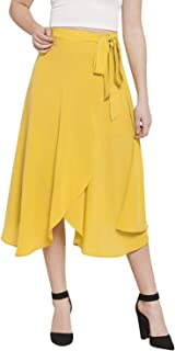 Indian Dresses Store Martini Women Yellow Wrap Midi Skirt