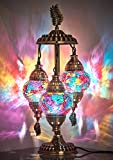 DEMMEX 2020 Stunning 3 Globe Turkish Moroccan Bohemian Table Desk Bedside Night Lamp Light Lampshade with North American Plug & Socket, 21 Inches (Heaven)