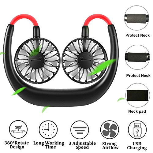 Neck Fan,Portable Smart Dual Effect Cooling Neckband Fan,Rechargeable USB Hanging Neck Cooler for Sports,Working,Travel,Outdooretc. Green
