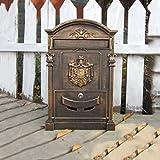 Buzones Buzón de hierro forjado de la pared al aire libre de la caja de letra del chalet europeo con la caja retra del periódico del buzón de correos