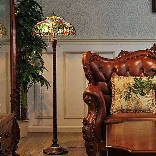 Lámpara de pie de 19 pulgadas Tiffany estilo lámpara de pie creativa europea salón vertical estándar lámpara hecha a mano color cristal lámpara de pie