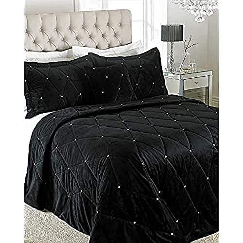 Riva Paoletti New Diamante Couvre-Lit - Noir - Diamante Cristal Paillettes - Matelassée Géométrique Design - 2 X Oreiller Shams Inclus - 100% Polyester - 220 X 240 Cm (87' X 94' Pouces) Noir