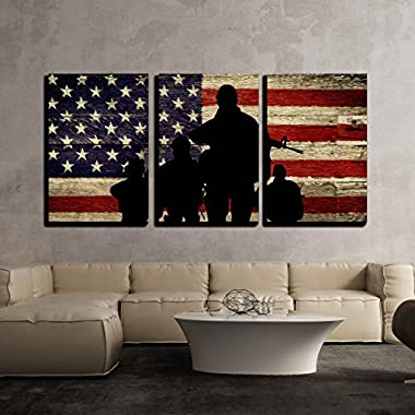 wall26 - 3 Piece Canvas Wall Art - Silhouette of Troops on American Flag Background - Modern Home Decor Stretched and Framed Ready to Hang - 16 x24 x3 Panels
