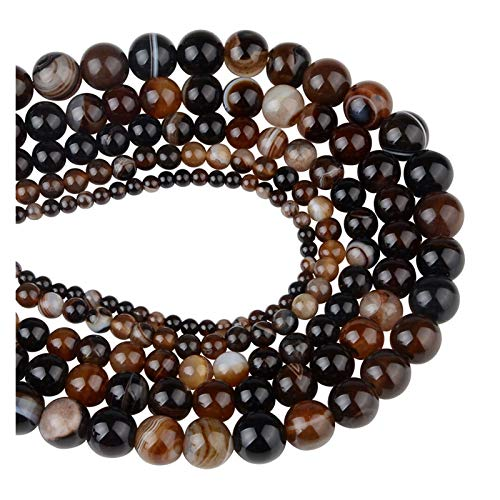 Linyuex 4,6,8,10,12mm Natural Stone Beads Black Lava Tiger Eye Bulk Loose Stone Beads For DIY Making Bracelet Necklace Jewelry (Color : Banded Agate coffee, Size : 4mm-92pcs)