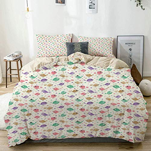 Duvet Cover Set Beige,Baby Bird Carictaure Funny Print, Decorative 3 Piece Bedding Set with 2 Pillow Shams
