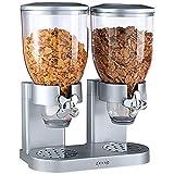 CRAVOG 'Expendedor de muesli y cereales Dispensador Double, 2Doble cereales Depósito de dispensador, cada aprox. 3.5Litros, Plata